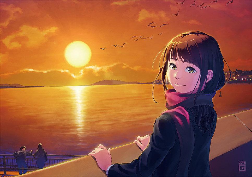 宍道湖と晩秋の夕日(オリジナル)