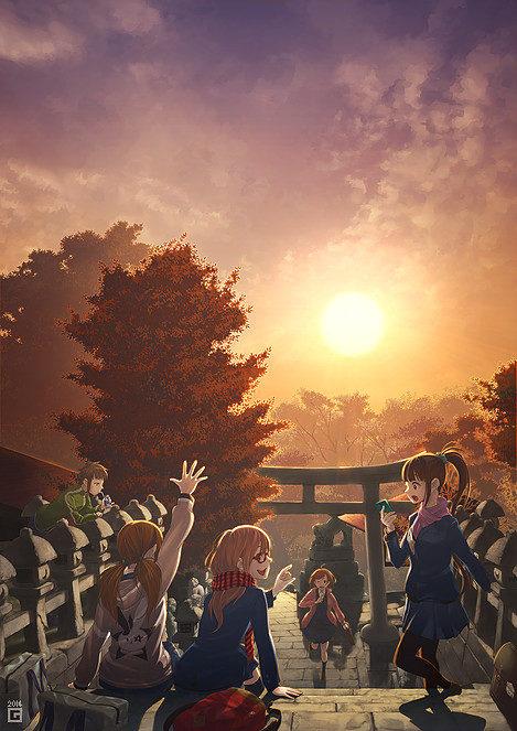 放課後と神社と秋の空